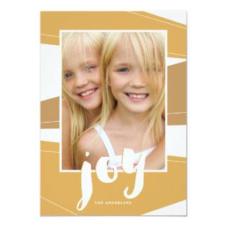 Geometric Block | Gold Tone Joy Photo Card 13 Cm X 18 Cm Invitation Card