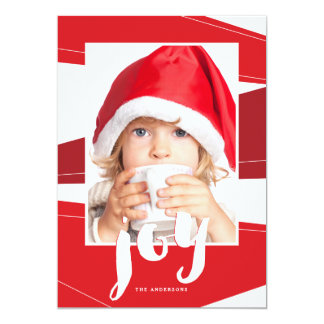 Geometric Block | Red Joy Photo Card 13 Cm X 18 Cm Invitation Card
