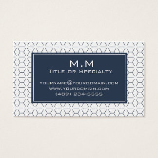 Geometric blue and white light business card