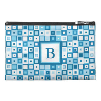 Geometric Blue and White Tote - Add your initial Travel Accessory Bag