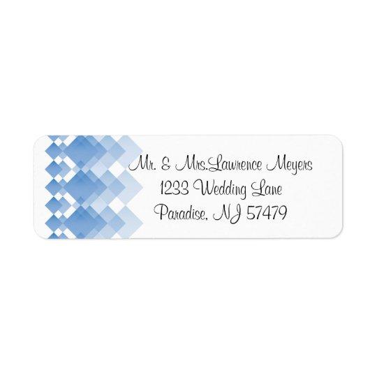 Geometric Blue Diamonds | Wedding Return Address Label