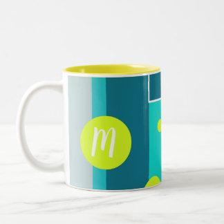 Geometric Blue Green Lime Two-Tone Coffee Mug
