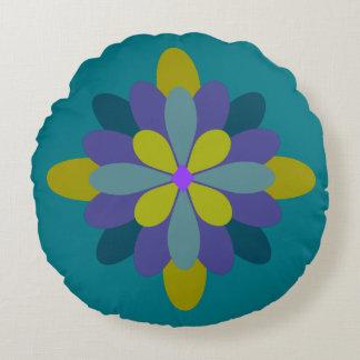 Geometric Blue Green Purple on Teal Floral Round Cushion