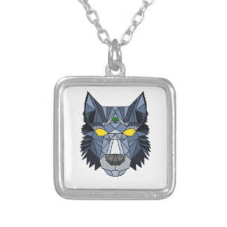 Geometric blue hipster wolf necklace