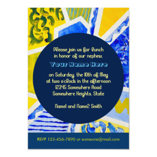 Geometric Blue n Yellow Abstract Acrylic Painting 13 Cm X 18 Cm Invitation Card