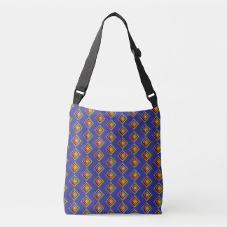Geometric Blue Pattern and Golden Bag