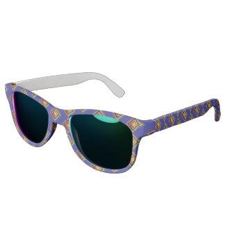 Geometric Blue Pattern and Golden Sunglass Sunglasses