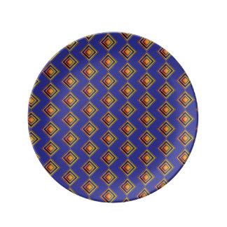Geometric Blue Pattern Decorative Porcelain Plate