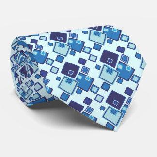 Geometric Blue Squares Pattern Custom Ties