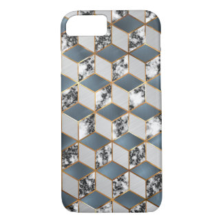 Geometric Blue, Steel and Marble Gold Cubes Mobile iPhone 8/7 Case