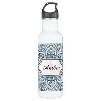 Geometric blue white floral mandala 710 ml water bottle