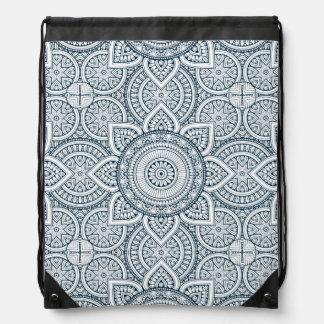 Geometric blue white floral mandala drawstring bag