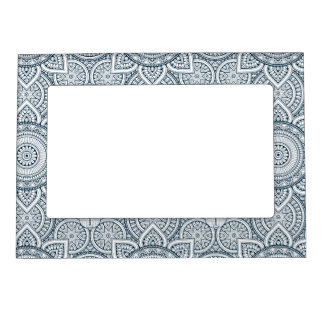 Geometric blue white floral mandala magnetic picture frame