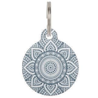 Geometric blue white floral mandala pet tag