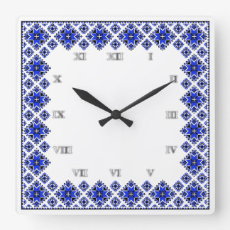 Geometric Boarder Pattern - Blue - Clock