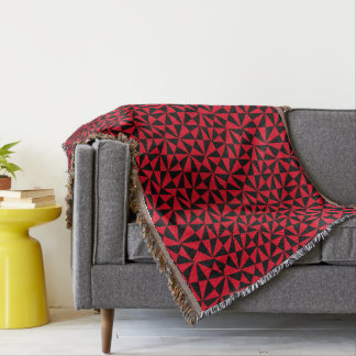Geometric Bold Retro Funky Black Orange Modern Throw Blanket