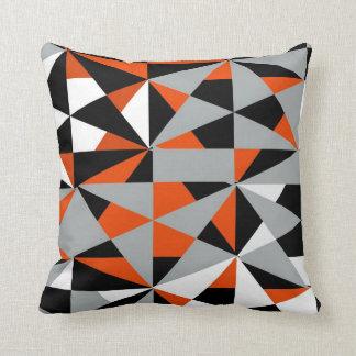 Geometric Bold Retro Funky Orange Black White Cushion