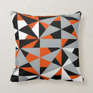 Geometric Bold Retro Funky Orange Black White Throw Cushion