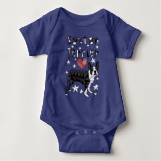 Geometric Boston Terrier Baby Bodysuit