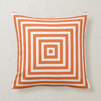 Geometric Box Pattern in Orange Cushion