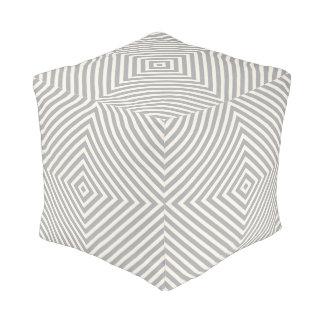 Geometric Box Stripe Pattern in Grey Pouf