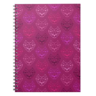 Geometric Cat Pattern Pink Spiral Notebook
