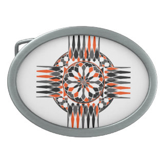 Geometric celtic cross oval belt buckles
