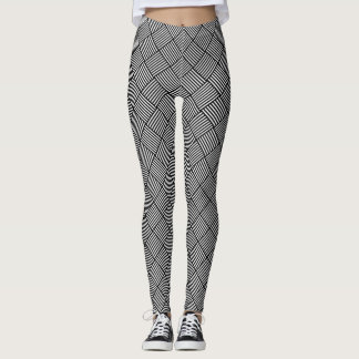 Geometric checked texture leggings