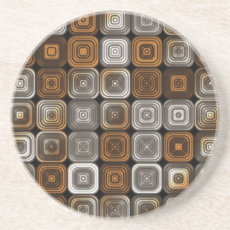 Geometric chocolate pattern sandstone coaster