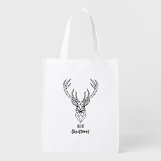 Geometric Christmas deer head Reusable Grocery Bag