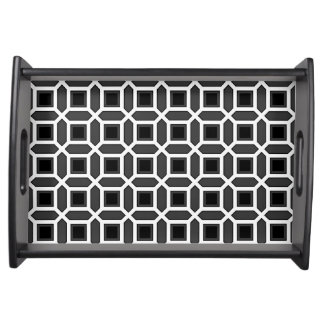 Geometric Circle Pattern Black and Grey Serving Tray