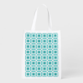 Geometric Circle Pattern Turquoise Blue Reusable Grocery Bag