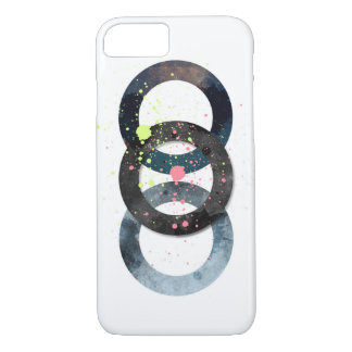 Geometric Circles and Paint Splatters iPhone 7 Case