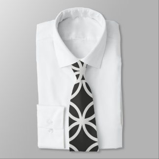 Geometric Circles Black & White Men's Necktie