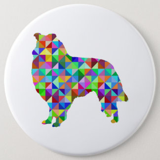 Geometric Collie 6 Cm Round Badge
