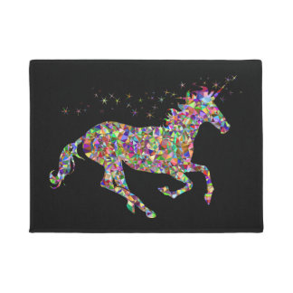 Geometric coloured Unicorn front door mat