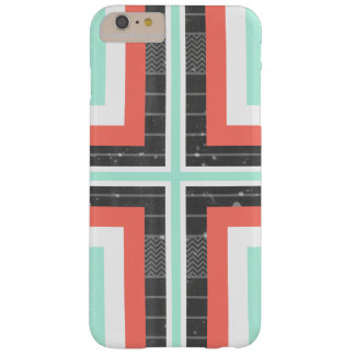 Geometric Coral & Mint Green Distressed Pattern Barely There iPhone 6 Plus Case