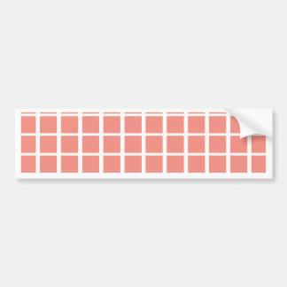 Geometric Coral Pink Square Pattern Bumper Sticker