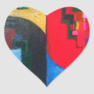 Geometric Counterpoint (geometric expressionism) Heart Sticker