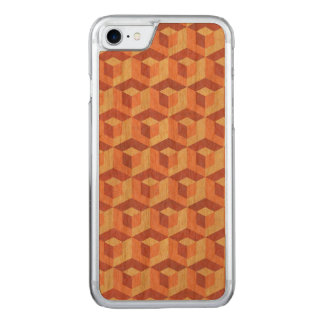 Geometric Cubes Pattern Brown & Beige Carved iPhone 8/7 Case