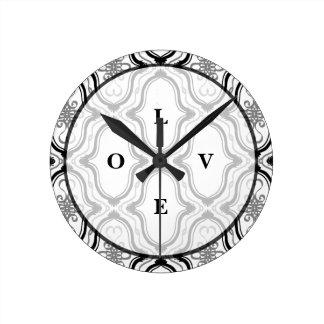 Geometric Damask Personalizable Pattern Love Wall Clocks