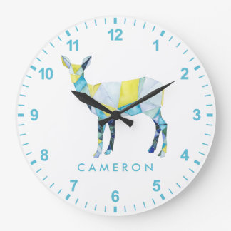 Geometric Deer Animal Large Clock