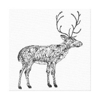 Geometric deer coloring canvas, deer holiday decor canvas print