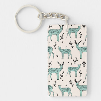 Geometric Deer - Turquoise/Black / Andrea Lauren Double-Sided Rectangular Acrylic Key Ring