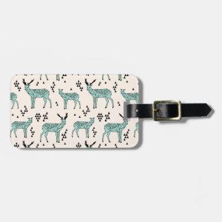 Geometric Deer - Turquoise/Black / Andrea Lauren Luggage Tag