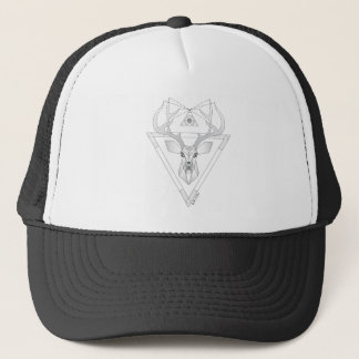 Geometric Deer (white) Trucker Hat
