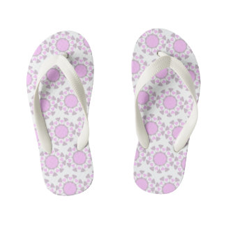Geometric design toddler flip flops- grey and pink thongs
