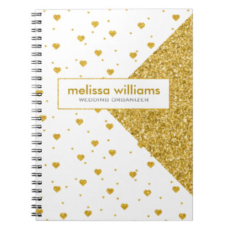 Geometric Design & White & Gold Hearts Pattern Spiral Note Book