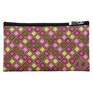 Geometric Diagonal Tiles on any Color Initials Makeup Bags