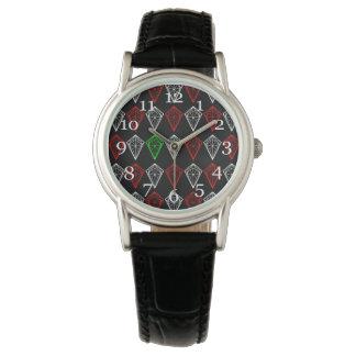 Geometric Diamond, Ruby and Sapphire Pattern Watch